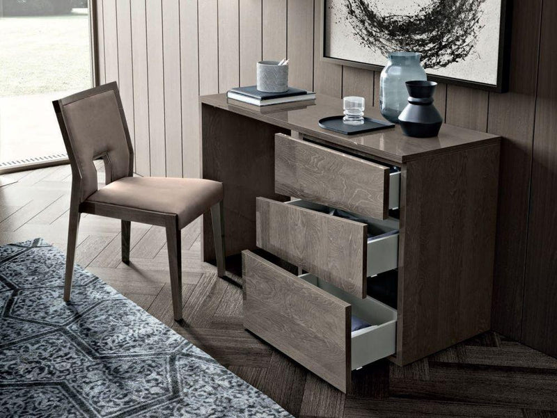 Camel Tekno Night Silver Birch High Gloss 3 Drawer Dressing Table - AR Furnishings