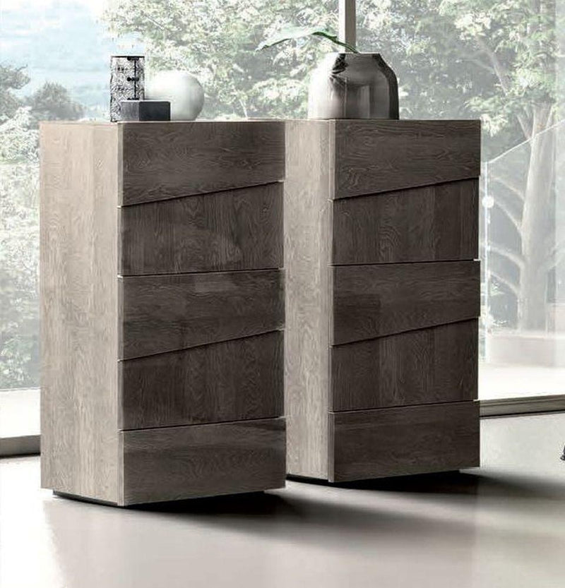 Camel Tekno Night Silver Birch High Gloss 5 Drawer Tallboy Chest - AR Furnishings - Specialists In Bringing Luxury Into Your Home.