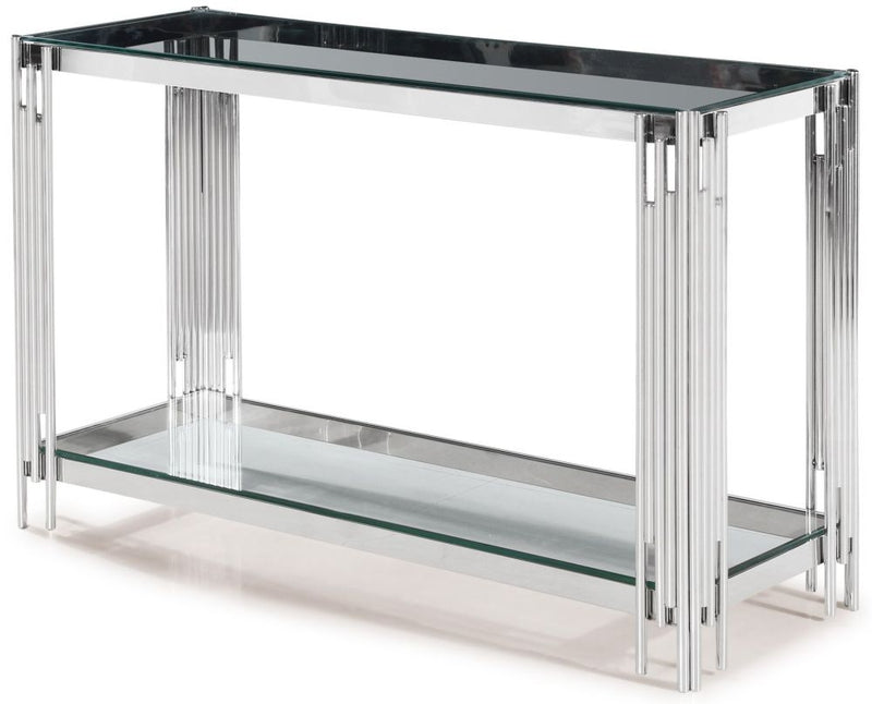 Vasari Console Table Glass and Chrome