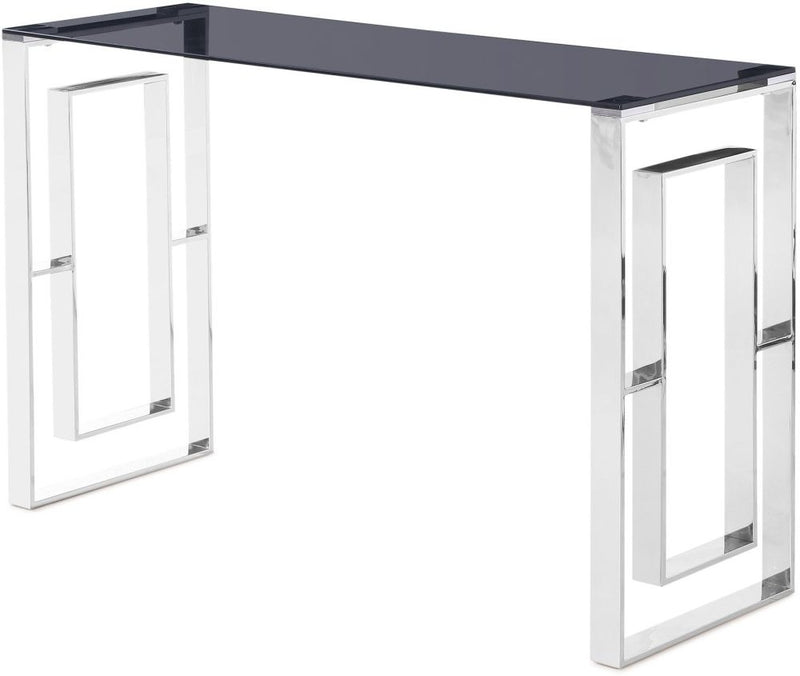 Harrera Console Table Smoked Glass and Chrome