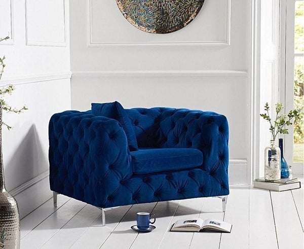 Mark Harris Alegra Blue Plush Fabric Armchair