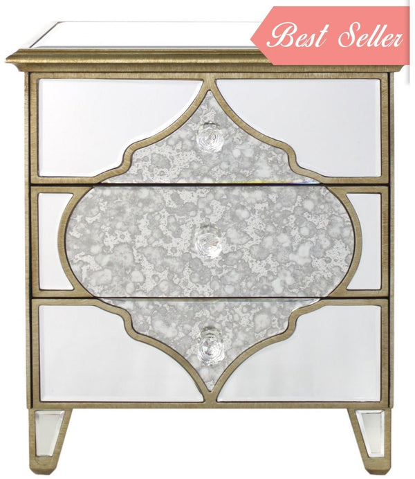 Mara Antique Mirrored 3 Drawer Cabinet - AR Furnishings - Specialists In Bringing Luxury Into Your Home.