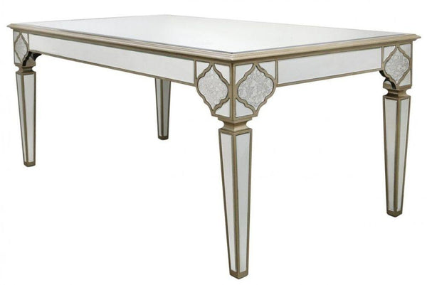 Mara Antique Mirrored 180cm Dining Table - AR Furnishings - Specialists In Bringing Luxury Into Your Home.