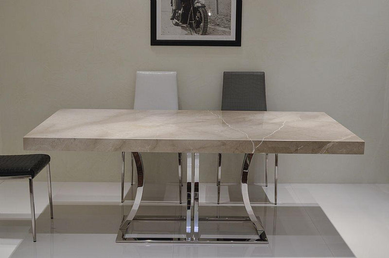 Stone International Aurora Dining Table - Marble and Polished Stainless Steel - AR Furnishings - Specialists In Bringing Luxury Into Your Home.