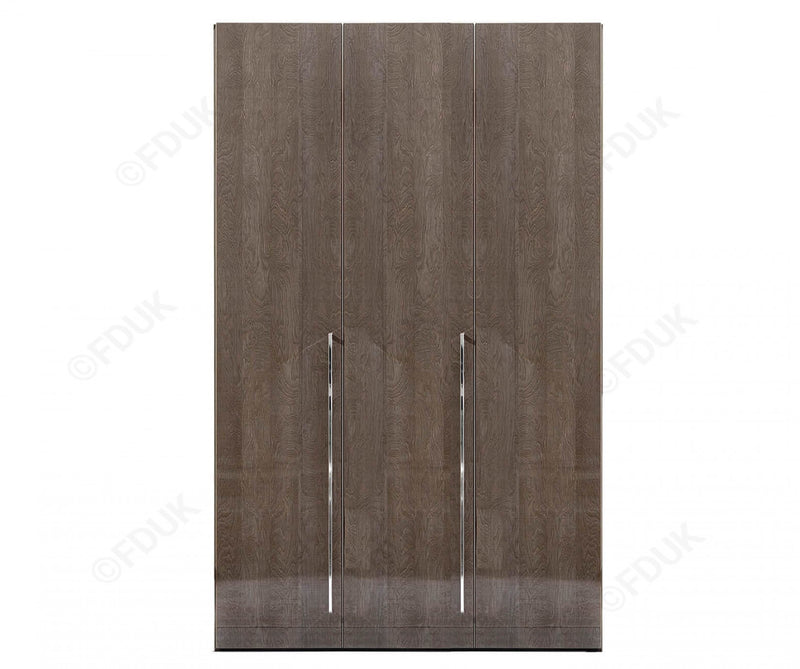 Platinum Night High Gloss 3 Door Wardrobe - AR Furnishings - Specialists In Bringing Luxury Into Your Home.