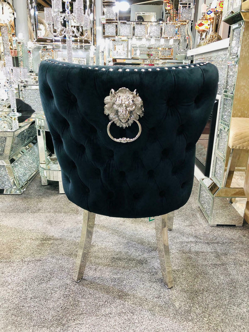 Valentino Quilted Velvet Chrome Leg Lion Knockerback Dining Chair - Black - AR Furnishings - Specialists In Bringing Luxury Into Your Home.