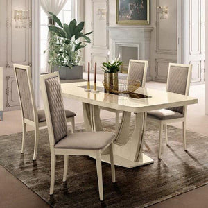 Ambra Liscia Sand Birch Finish Leather Dining Chair - ImagineX Furniture & Interiors