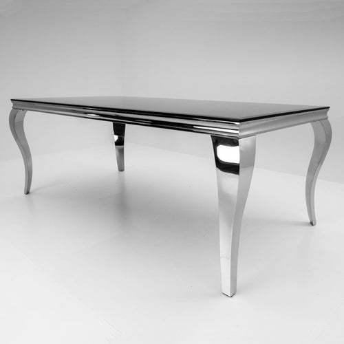Louis 160cm White Tempered Glass Dining Table Only - ImagineX Furniture & Interiors