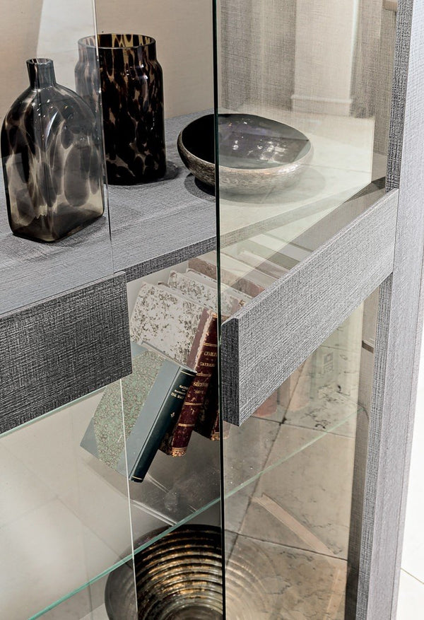 Futura Day Grey Sawmarked Italian Oak 2 Door Display Cabinet - AR Furnishings - Specialists In Bringing Luxury Into Your Home.