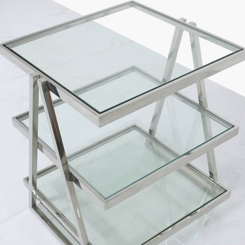 Chrome & Glass 3 Tier End Table - Modern Home Interiors