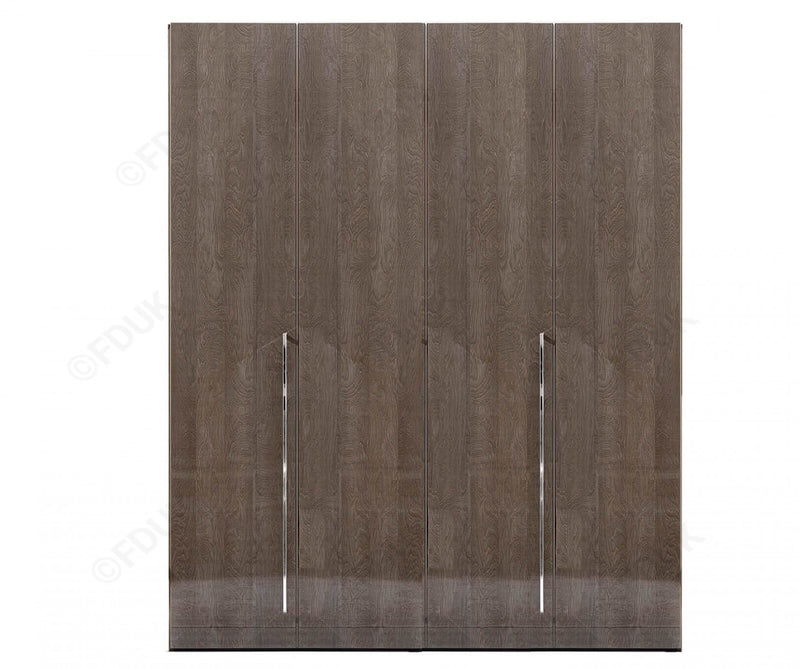 Platinum Night High Gloss 4 Door Wardrobe - AR Furnishings - Specialists In Bringing Luxury Into Your Home.