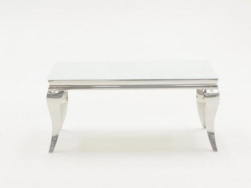 Louis 130cm White Glass Tempered Coffee Table - ImagineX Furniture & Interiors