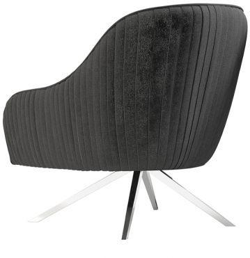 Torelli Bianca Dark Grey Velvet and Chrome Lounge Chair