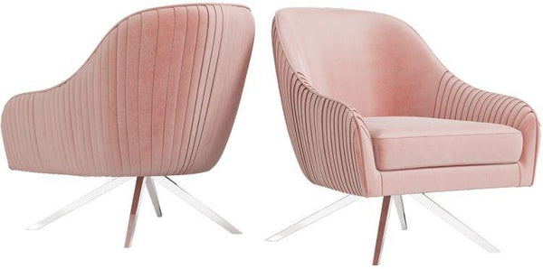 Torelli Bianca Pink Velvet and Chrome Lounge Chair