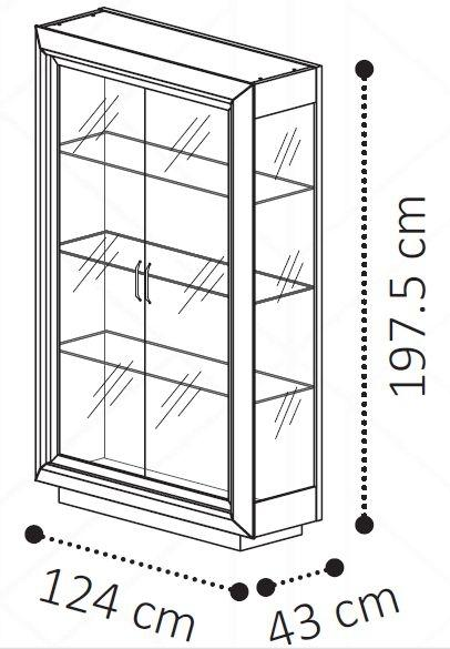 Camel Elite Day Italian 2 Door Vitrine Display Cabinet - AR Furnishings - Specialists In Bringing Luxury Into Your Home.
