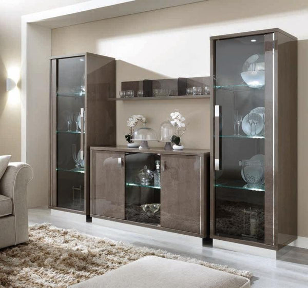 Platinum Day Slim Italian Buffet - 3 Door Silver Birch High Gloss - AR Furnishings - Specialists In Bringing Luxury Into Your Home.
