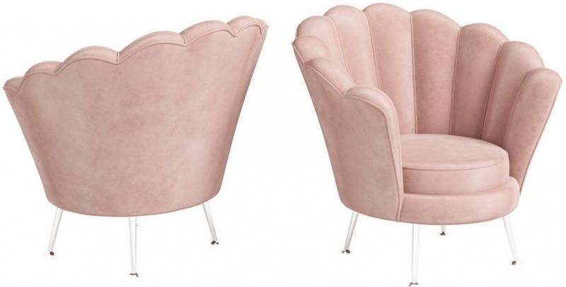 Torelli Erica Pink Velvet and Chrome Lounge Chair