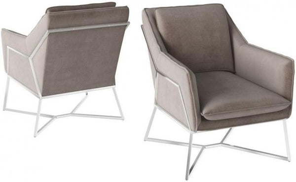 Torelli Lara Mink Velvet and Chrome Lounge Chair
