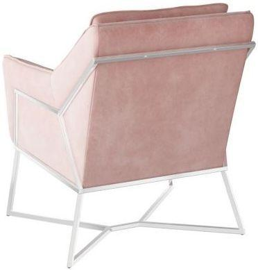 Torelli Lara Pink Velvet and Chrome Lounge Chair