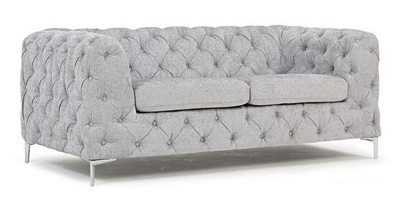Mark Harris Alegra Grey Plush Fabric 2 Seater Sofa