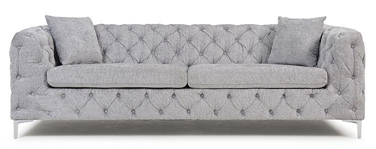 Mark Harris Alegra Grey Plush Fabric 3 Seater Sofa