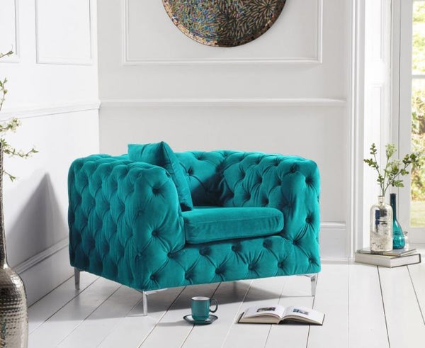 Mark Harris Alegra Teal Plush Fabric Armchair