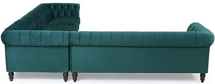 Mark Harris Lauren Green Velvet 2 Corner Sofa