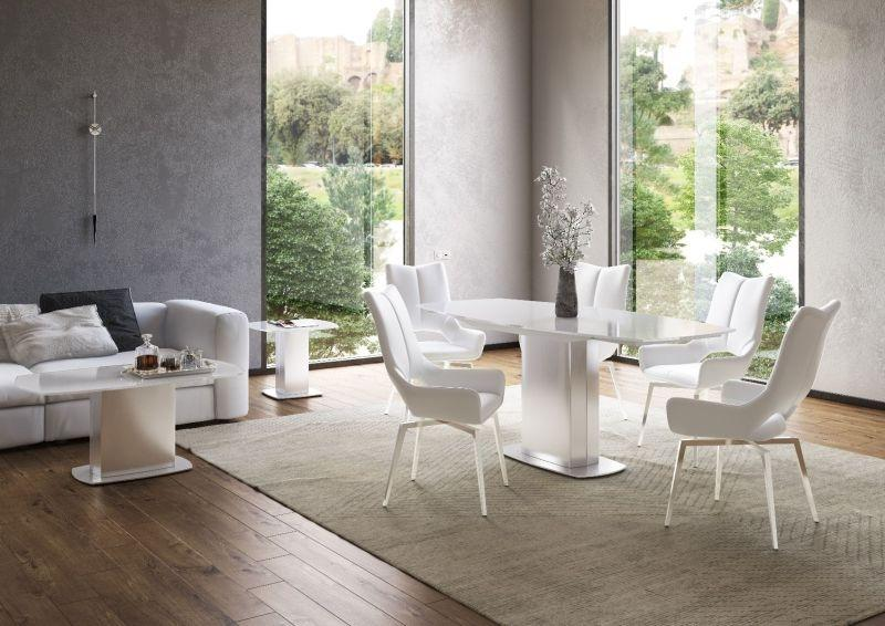 Torelli Olivia 130-190cm Swivel Extending White Glass Dining Table + 4 Spinello Chairs