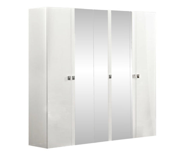 Onda White High Gloss Italian 5 Door Mirror Wardrobe - AR Furnishings - Specialists In Bringing Luxury Into Your Home.