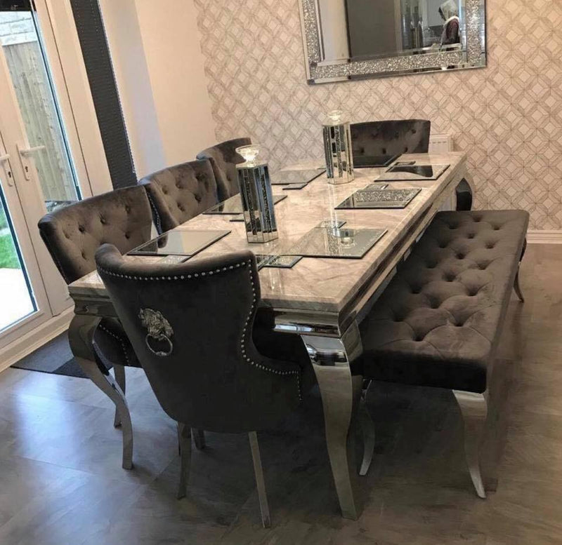 Louis 150cm Grey Marble Dining Table + 4 Grey Lion Knocker Chairs + 110cm Bench - AR Furnishings - Specialists In Bringing Luxury Into Your Home.