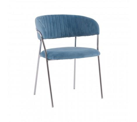 Tamzin Blue Channel Chrome Finish Dining Chair