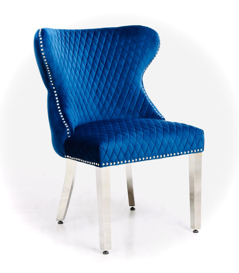 Valentino Blue Quilted Plush Velvet Chrome Leg Lion Knockerback Dining Chair