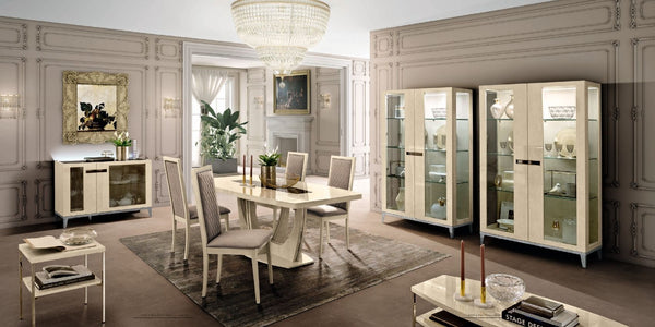 Ambra Sand Birch Finish Italian 2 Glass Door Buffet - AR Furnishings - Specialists In Bringing Luxury Into Your Home.