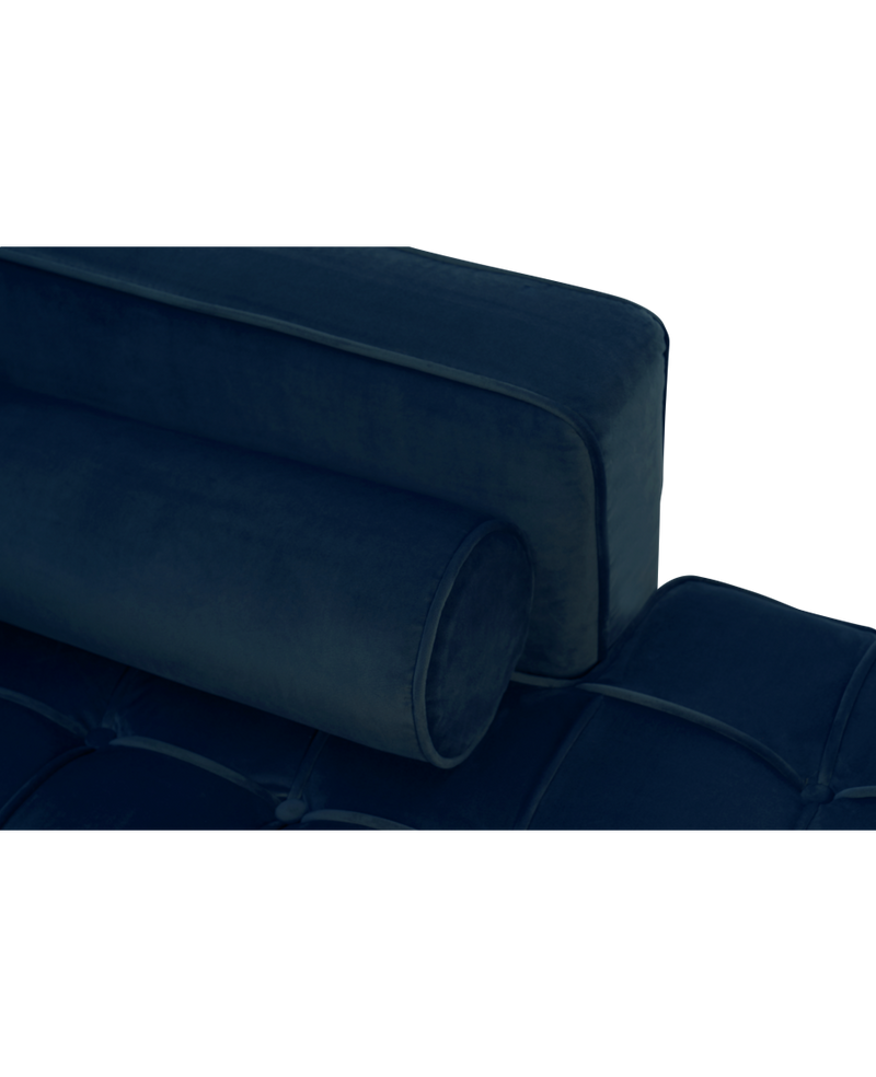 Anneliese Blue Velvet Left Facing Chaise Sofa - AR Furnishings - Specialists In Bringing Luxury Into Your Home.