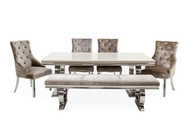 Arianna 200cm Cream Marble Dining Table + 4 Belle Champagne Velvet Dining Chairs + 180cm Bench