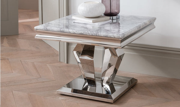 Arturo Grey Marble & Chrome Lamp Table - AR Furnishings - Specialists In Bringing Luxury Into Your Home.