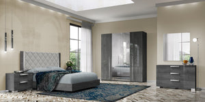 Sarah Grey Birch Italian Upholstered Bed Frame - ImagineX Furniture & Interiors