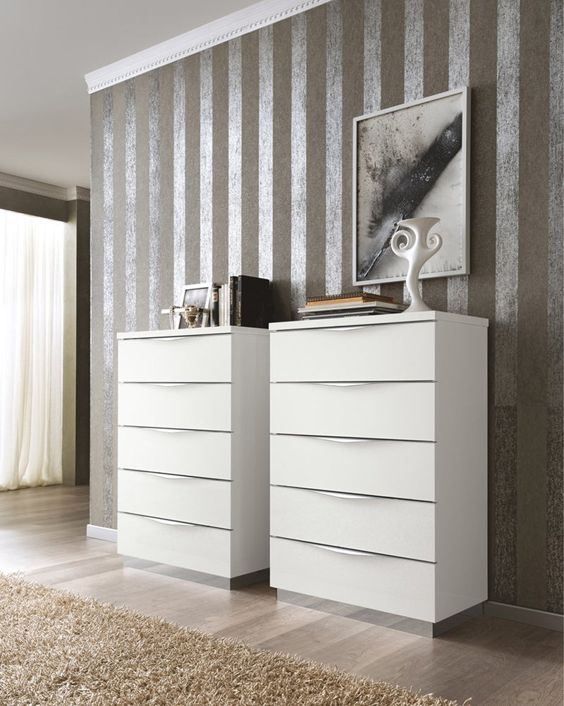 Onda White High Gloss Italian 5 Drawer Chest - AR Furnishings - Specialists In Bringing Luxury Into Your Home.
