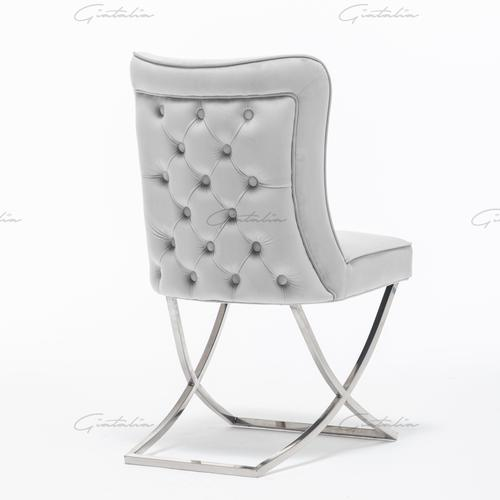 Belgravia Light Grey French Velvet Button Back Dining Chair With Chrome Legs