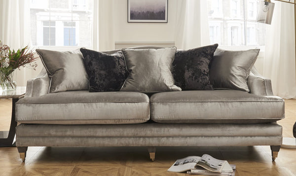 Belvedere 4 Seater Fabric Sofa with 5 Scatter Cushions - Pewter - AR Furnishings - Specialists In Bringing Luxury Into Your Home.