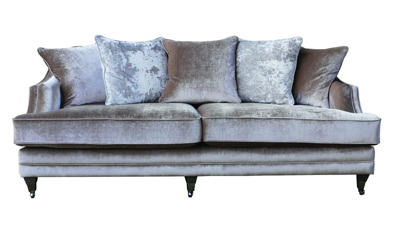 Belvedere 4 Seater Fabric Sofa with 5 Scatter Cushions - Champagne - AR Furnishings