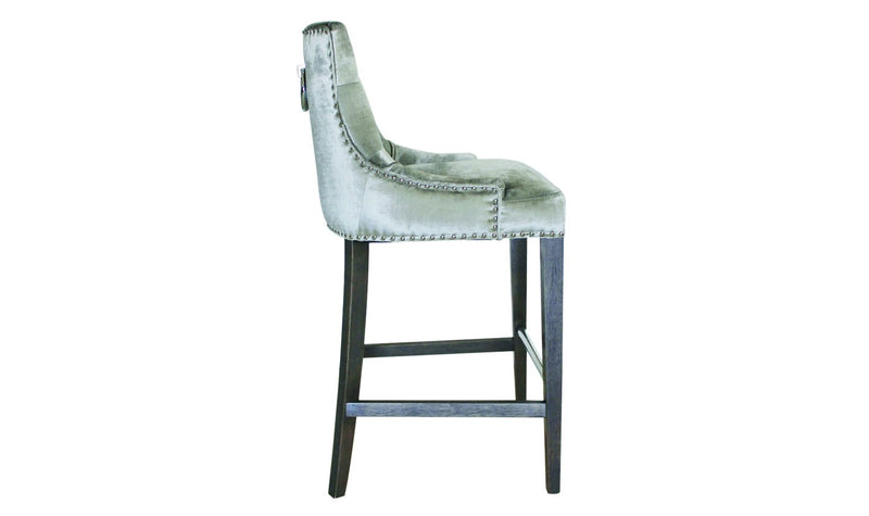 Belvedere Knockerback Bar Chair - Pewter (1/Box) - AR Furnishings - Specialists In Bringing Luxury Into Your Home.