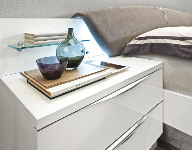 Onda White High Gloss Italian Maxi Night Table - AR Furnishings - Specialists In Bringing Luxury Into Your Home.