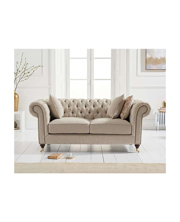 Camara Chesterfield Cream Linen 2 Seater Sofa - AR Furnishings - Specialists In Bringing Luxury Into Your Home.