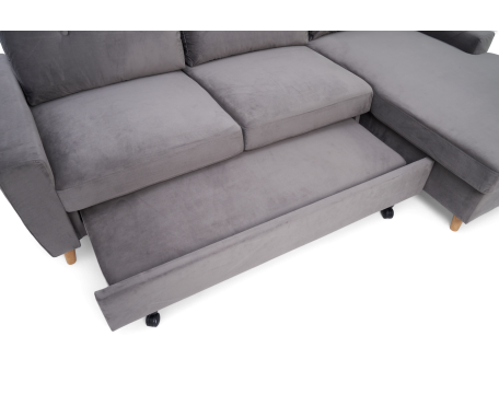Carlotta Grey Velvet Right Hand Facing Chaise Sofa Bed - AR Furnishings - Specialists In Bringing Luxury Into Your Home.