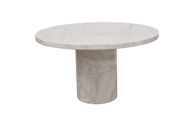 Carra Round Bone White 130cm Dining Table - AR Furnishings - Specialists In Bringing Luxury Into Your Home.