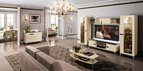 Ambra Sand Birch Finish Italian TV Unit - AR Furnishings - Specialists In Bringing Luxury Into Your Home.