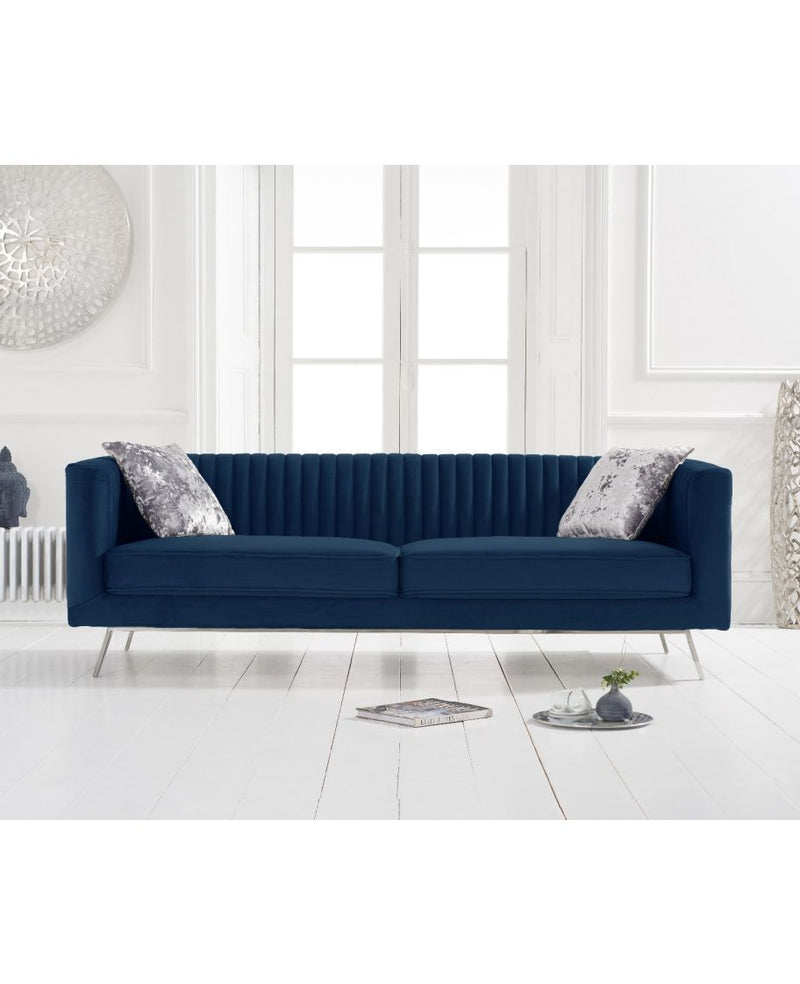 Danielle Blue Velvet 3 Seater Sofa - AR Furnishings - Specialists In Bringing Luxury Into Your Home.