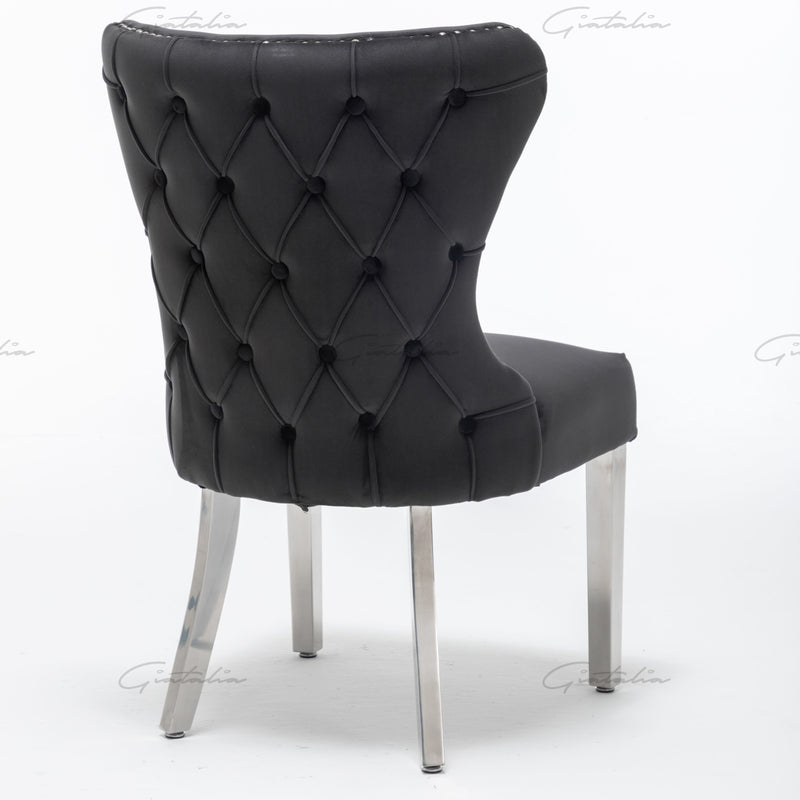 Florence Black French Plush Velvet Button Back Dining Chair With Chrome Legs