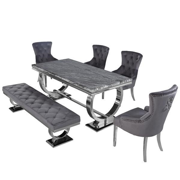 Arianna 180cm Grey Marble Dining Table 4 Grey Lion Knocker Chairs & 160cm Bench